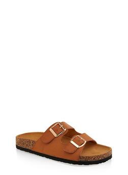 Two Buckle Footbed Slide Sandals - 1112073541012