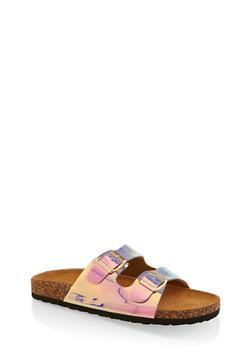 Two Buckle Footbed Slide Sandals - 1112073541012