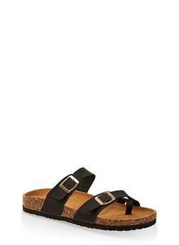 Two Buckle Toe Ring Footbed Slide Sandals - BLACK - 1112073541013
