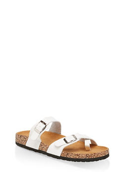 Two Buckle Toe Ring Footbed Slide Sandals - WHITE - 1112073541013