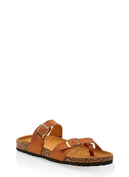 Two Buckle Toe Ring Footbed Slide Sandals - TAN - 1112073541013