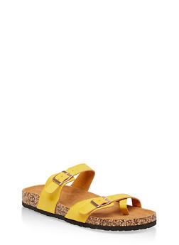 Two Buckle Toe Ring Footbed Slide Sandals - YELLOW - 1112073541013