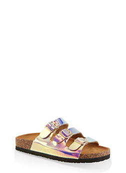 Triple Buckle Cork Sole Footbed Sandals - 1112073541014