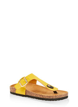 Buckle Thong Cork Footbed Sandals - 1112073541017