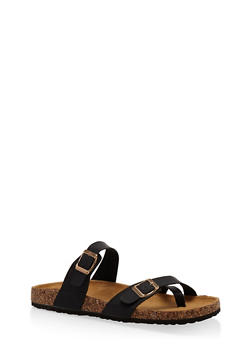Double Strap Footbed Sandals - BLACK - 1112073541682