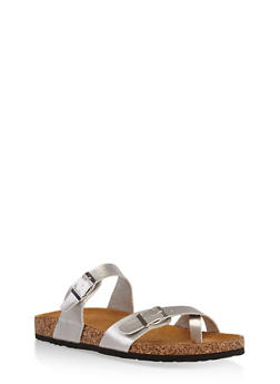 Double Strap Footbed Sandals - SILVER - 1112073541682