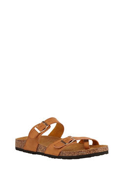 Double Strap Footbed Sandals - TAN - 1112073541682