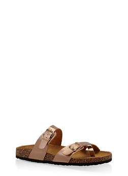 Double Strap Footbed Sandals - BRONZE - 1112073541682