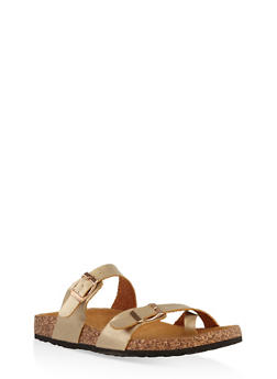 Double Strap Footbed Sandals - GOLD - 1112073541682