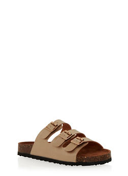 Slides with Triple Strap and Buckle Detail - 1112073541701