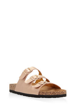 Three Strap Footbed Sandals - BRONZE - 1112073541702