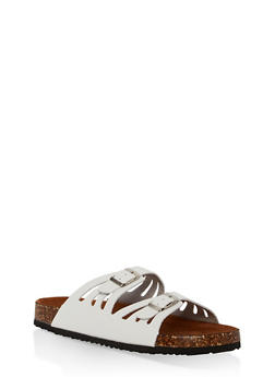 Double Strap Footbed Sandals - WHITE - 1112073541708