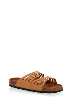 Double Strap Footbed Sandals - TAN - 1112073541708