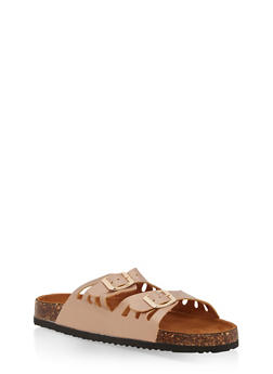 Double Strap Footbed Sandals - BRONZE - 1112073541708