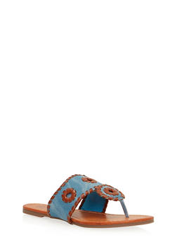 Braided Faux Leather Thong Slide Sandals - 1112073541737