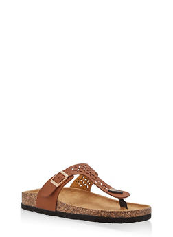 Cutout Thong Footbed Sandals - BROWN - 1112073546251