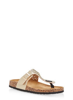 Cutout Thong Footbed Sandals - GOLD - 1112073546251