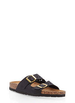 Cut Out Double Strap Footbed Slide Sandals - 1112073546254