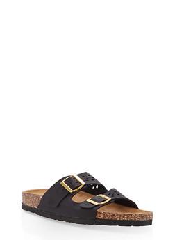 Cutout Double Strap Footbed Slide Sandals - BLACK - 1112073546254