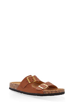 Cut Out Double Strap Footbed Slide Sandals - BROWN - 1112073546254