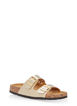 Cutout Double Strap Footbed Slide Sandals - GOLD - 1112073546254