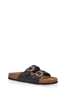 Double Strap Footbed Sandals - BLACK - 1112073548152