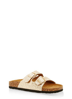 Double Strap Footbed Sandals - GOLD - 1112073548152