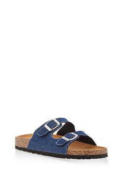 Double Strap Footbed Sandals - BLUE DENIM - 1112073548152