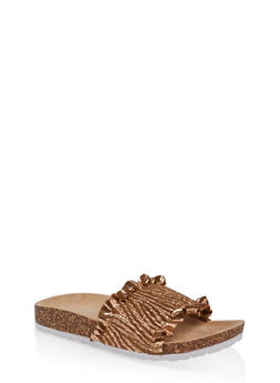 Ruffled Footbed Sandals - GOLD - 1112074707725
