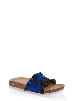Ruffled Footbed Sandals - BLUE - 1112074707725