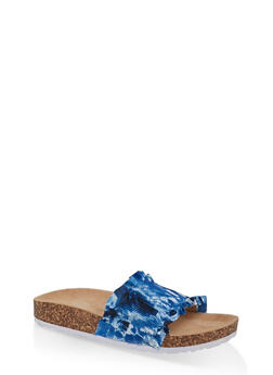 Ruffled Footbed Sandals - BLUE MULTI - 1112074707725