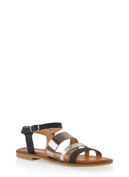 Studded Sole Ankle Strap Sandals - BLACK MULTI - 1112074803830