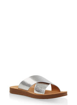Criss Cross Strap Slide Sandals - 1112074806682