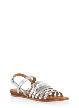 Multi Strap Sandals - SILVER - 1112074807437