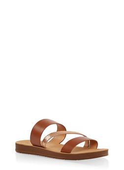 Triple Strap Slide Sandals - CAMEL - 1112074809456