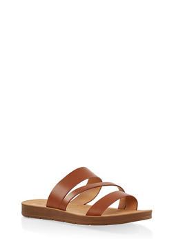Triple Strap Slide Sandals - TAN - 1112074809456