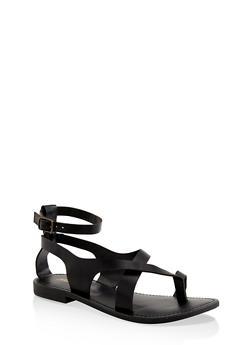 Asymmetrical Toe Ring Ankle Strap Sandals - BLACK - 1112074967571
