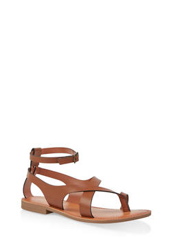 Asymmetrical Toe Ring Ankle Strap Sandals - TAN - 1112074967571