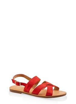 Criss Cross Buckle Strap Sandals - 1112074967573