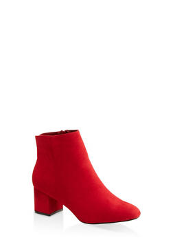 Round Toe Mid Block Heel Booties - RED S - 1113004062263