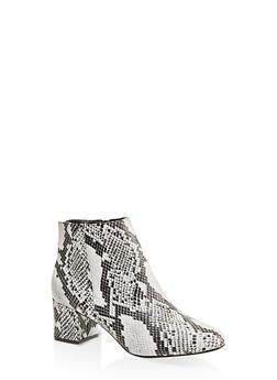 Round Toe Mid Block Heel Booties - BLACK SKIN PRINT - 1113004062263