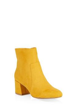 Round Toe Chunky Heel Booties - MUSTARD - 1113004063430