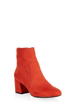 Round Toe Chunky Heel Booties - RUST - 1113004063430
