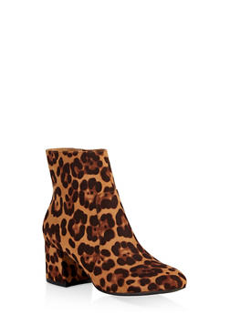 Round Toe Chunky Heel Booties - 1113004063430