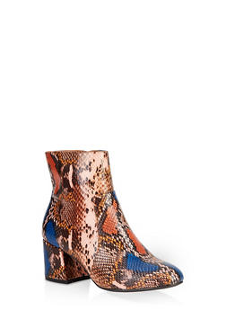Round Toe Chunky Heel Booties - NATURAL SKIN PRINT - 1113004063430