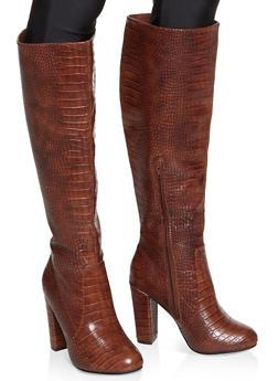 Knee High Block Heel Boots - BROWN - 1113004063737