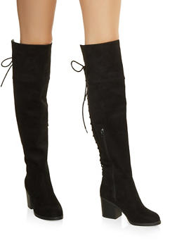 Over the Knee Lace Up Back Boots - BLACK SUEDE - 1113004064286