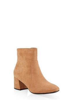 Side Zip Block Heel Booties - TAN - 1113004064745