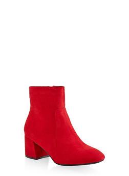 Side Zip Block Heel Booties - RED - 1113004064745