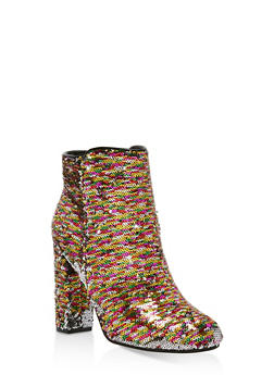 Reversible Sequin High Heel Booties - MULTI COLOR - 1113004065486